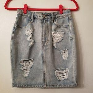 Distressed Denim Skirt by MinkPink